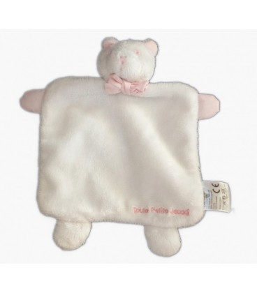 Doudou plat chat ours blanc rose Toute petite JACADI Noeud rose