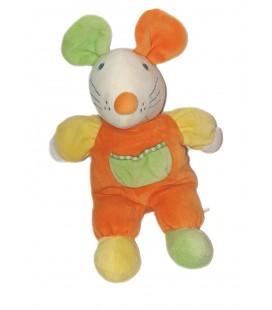Doudou peluche Souris orange poche verte Grelot 28 cm Maxita
