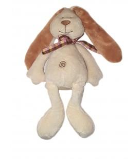 Doudou peluche Lapin blanc ecru beige spirale noeud carreaux rose 35 cm Maxita