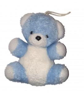 Doudou Ancienne peluche Musicale Vintage ours bleu blanc 20 cm Nounours