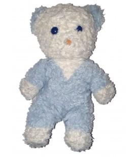 Ancienne Peluche doudou Vintage Ours bleu blanc grelot 24 cm Boulgom