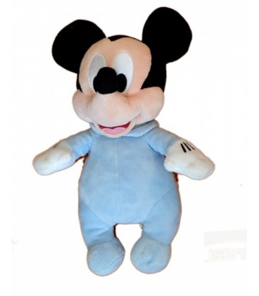 Peluche doudou MICKEY Pyjama bleu Disneyland Resort Paris 32 cm Grenouillère