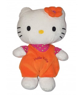 Peluche doudou Hello Kitty Salopette orange 28 cm Sanrio Fermeture Eclair