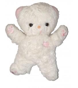 Peluche doudou Ours blanc rose 22 cm Boulgom