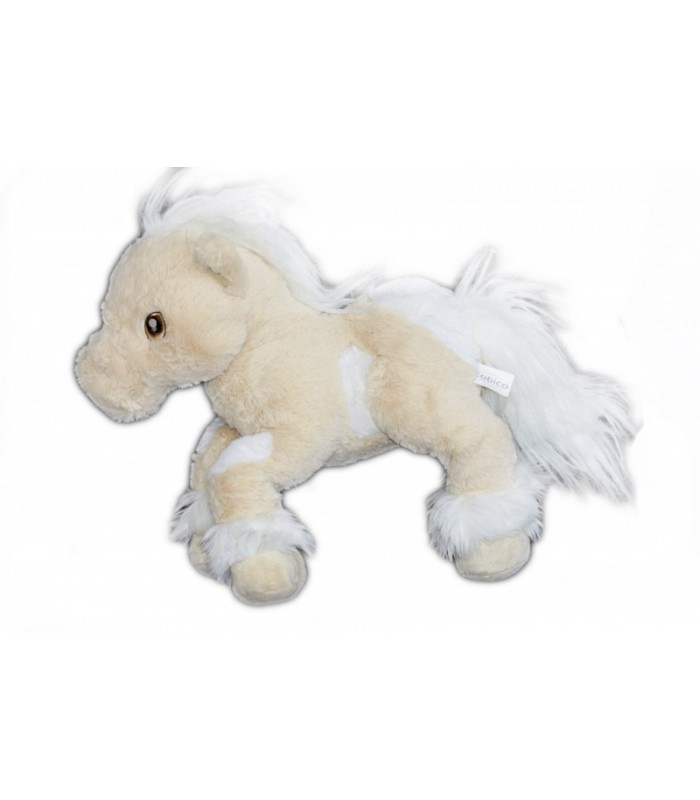 peluche doudou cheval beige blanc cobico l 32 cm x h 35 cm bruit de galop et h nissements. Black Bedroom Furniture Sets. Home Design Ideas