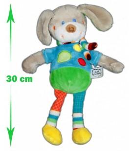 Doudou LAPIN chien bleu vert gris MOTS D'ENFANTS 30 cm ronds Echarpe