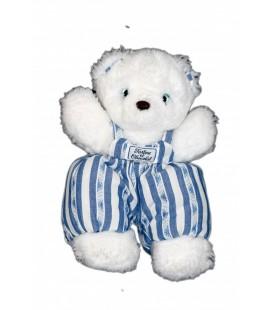 Doudou OURS Blanc TaRTINE ET CHOCOLaT Salopette rayures bleues 26 cm
