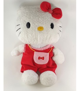 Peluche Doudou Hello Kitty Salopette rouge Sac 42 cm Sanrio
