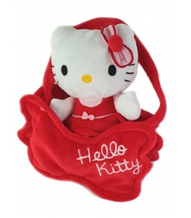 Peluche doudou HELLO KITTY dans son sac robe rouge Sanrio 18 cm
