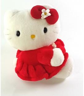 Peluche doudou Hello Kitty robe rouge Fleur blanche 20 cm Sanrio Smiles 2003