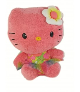 Peluche doudou Hello Kitty Ty Beanie Babies Hawaii Rose 15 cm Sanrio TY