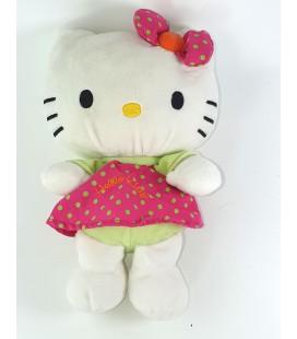 Peluche doudou Hello Kitty Robe pois vert Rose Fermeture dos 25 cm Sanrio