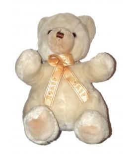 Doudou peluche ours blanc beige Noeud satine assis 28 cm NOUNOURS