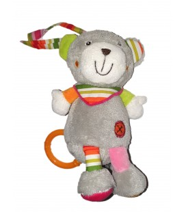 Peluche Musicale doudou Ours gris rose Foulard rayures 18 cm BAYSUN