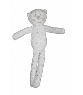 Doudou CHaT gris pois BOUT'CHOU Monoprix 30 cm