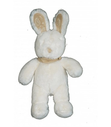 Doudou peluche LaPIN Blanc TEX Baby Bandana foulard beige 25 cm Carrefour CMI