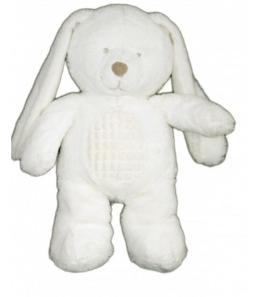Doudou peluche Chien Lapin blanc TEX Baby Carrefour CMI Nicotoy 35 cm