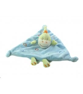 Doudou plat Dragon bleu vert ronds Kimbaloo