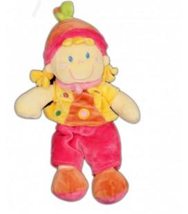 Doudou Fille Lutin Rose jaune MOTS D'ENFaNTS 30 cm