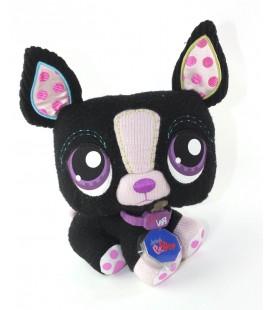 Peluche doudou Chien noir rose violet 25 cm Littlest Petshop Hasbro