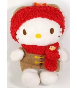 Peluche doudou Hello Kitty Bonnet echarpe rouge Manteau beige Sanrio 18 cm Augusta du Bay