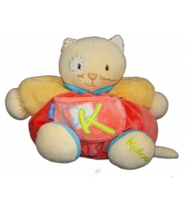 KaLOO Doudou Chat Boule Jaune Orange Bleu Sporty Cocard Doudou Peluche +/-24cm