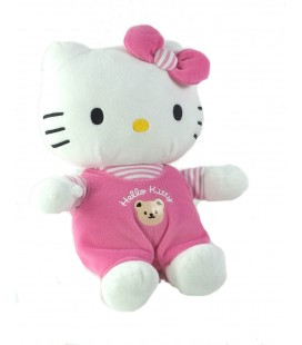 Peluche doudou Hello Kitty Salopette ours rose Sanrio 26 cm