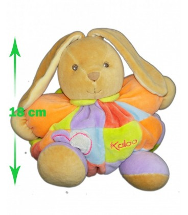 KaLOO Doudou LaPIN beige orange Carreaux coeur mauve +/-18cm