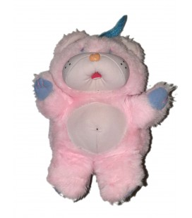 Peluche Popples Bisounours ours rose Plasti Snap 30 cm