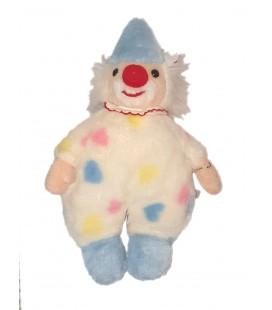 Vintage Ancienne Peluche Clown blanc bleu rose pastel CDJ Cedeji 42 cm