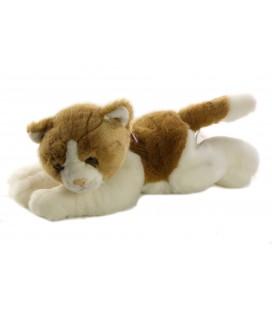 Peluche Chat marron blanc allonge 30 cm ANIMA
