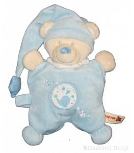 Doudou NICOTOY ours bleu blanc NICOTOY oiseau brodé Bonnet étoiles