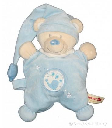 Doudou ours bleu blanc NICOTOY oiseau brode Bonnet etoiles