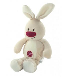 Doudou Lapin beige blanc bordeaux rond Dolly Bubble 34 cm CMP