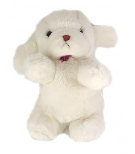 Peluche Doudou chien blanc grelot noeud bordeaux laine 30 cm GUND