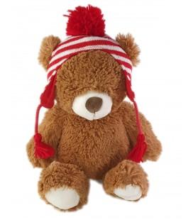 Peluche Ours marron bonnet blanc rouge 38 cm Amazon GUND