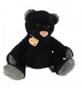 Peluche ours noir gris nez rose 38 cm Bussy Trudi