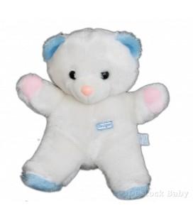 Doudou peluche OURS blanc bleu rose BOULGOM 28 cm