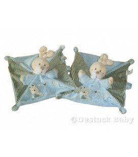 LOT 2 x Doudou LaPIN plat bleu aBC attache sucette NICOTOY
