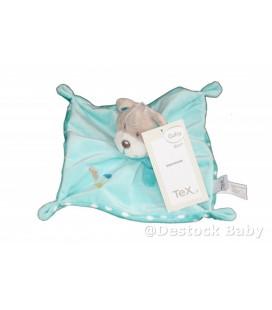 Doudou plat OURS bleu turquoise Nuages TEX Baby CMI Carrefour
