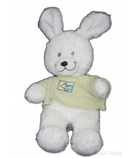 Doudou peluche LaPIN Blanc TEX Baby Carrefour CMI pull vert rayures 32 cm