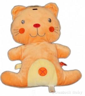 Doudou coussin semi plat chat orange NICOTOY 24 cm