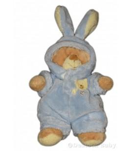 Doudou Ours beige bleu déguise lapin NICOTOY 26 cm