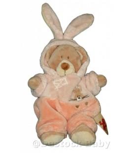 Doudou OURS beige déguisé lapin rose saumon NICOTOY H 28 cm avec les oreilles