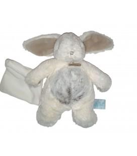 Peluche doudou lapin blanc gris chine Mouchoir 22 cm LES FLOCONS BABY NAT