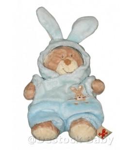 Doudou ours beige déguisé lapin bleu NICOTOY H 26 cm avec les oreilles