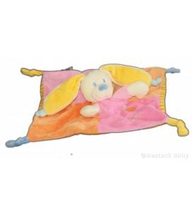 Doudou plat Chien Lapin Rose orange jaune MOTS D'ENFaNTS Poussin oiseau maison brodés