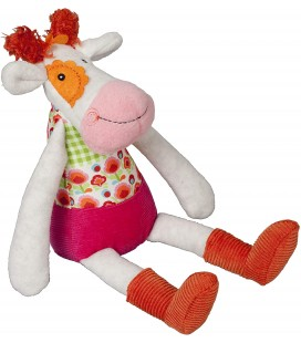 EBULOBO Doudou Anémone la Vache Peace & Love Happy Farm Grelot 28 cm