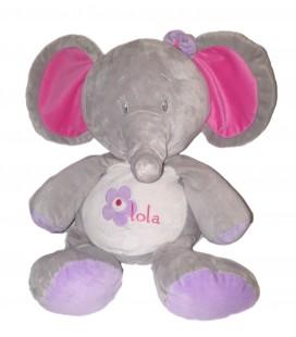 Grand doudou peluche geante Elephant gris rose 50 cm ARTHUR ET LOLA