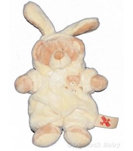 Doudou OURS beige déguisé lapin jaune clair crème NICOTOY H 28 cm avec les oreilles